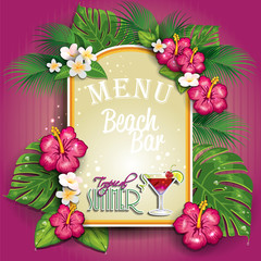 Menu beach bar