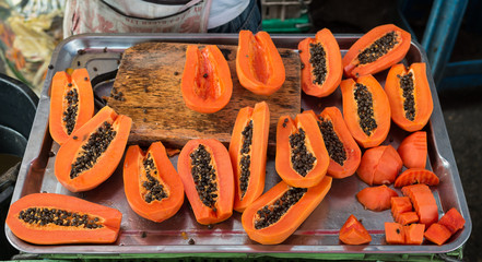 Papaya sliced.