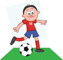 Cartoon Soccer Player Kick
