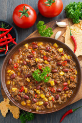 Mexican dish chili con carne, top view