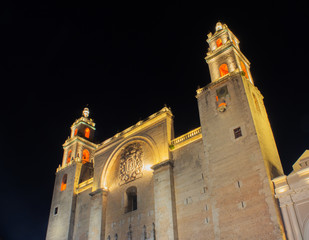 Merida, Mexico Cathedral at Night