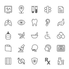 Set of Outline stroke Medical icon set 2