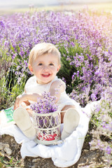 Beautiful little girl in lavender field