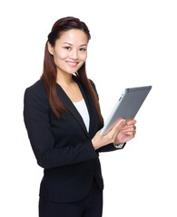 Asian business woman use tablet