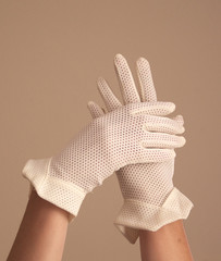 woman modeling vintage formal mesh white gloves