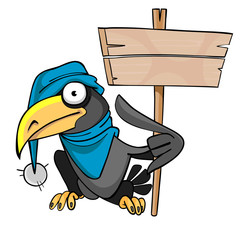 cartoon bird crow hat with a banner