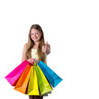 Happy Fashion Girl with coloured bags