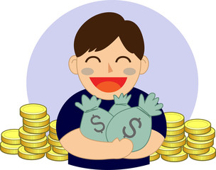 hand holding money bag vector illustration