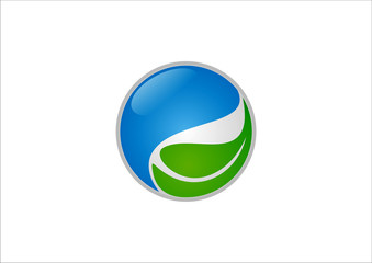 Ecology from green leaves and water logo vector