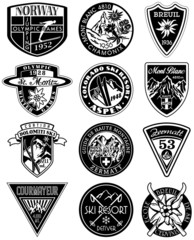 Vintage mountains souvenir vector patches in black and white