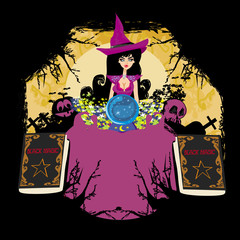 witch with crystal ball - abstract frame for halloween