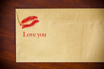 backside envelope with lipstick kiss
