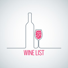 wine bottle glass list menu background