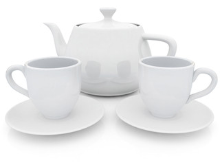 3d cups and teapot