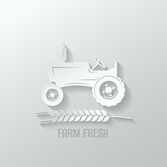 farm tractor cut paper background illustration
