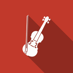violin icon with long shadow