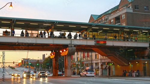 People on Roosevelt CTA Station at twilight sky - 67206265