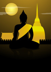 Buddha statue and thailand temple with moon night background