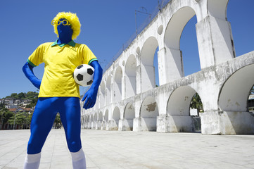 Blue Brazilian Football Player Holding Soccer Ball Rio