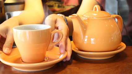 Barista Serving Cup Of Hot Tea, Stock Video
