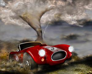 Rennwagen contra Tornado