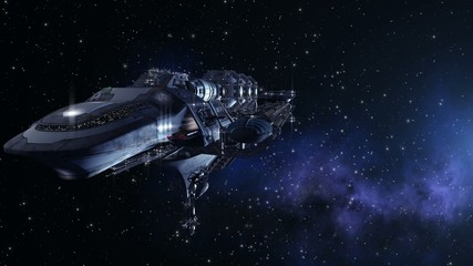 Futuristic spacelab, alien ship or military craft in deep space