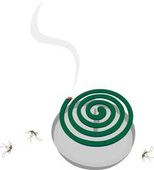 蚊取り線香と死んでいる蚊
