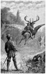Winged Deer - Fantasy Engraving - Scène Fantastique