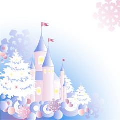 Christmas background with castle