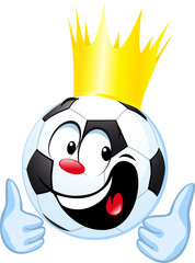 funny soccer ball with royal crown and thumb up