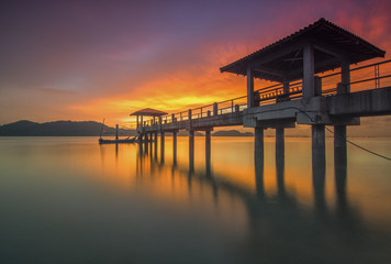 Sunset at an island jetty