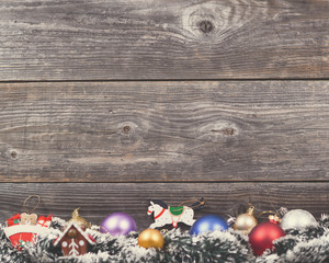 Vintage Christmas background with various colorful decorations o