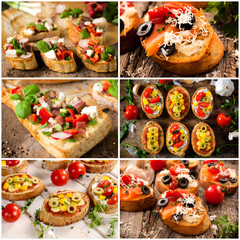 Group of the Italian traditional bruschetta sandwiches