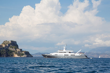 Luxury large super or mega motor yacht on anchor in corfu - gree