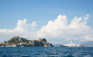 Luxury large super or mega motor yacht on anchor in corfu.