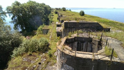 Concrete fortifications from WWII on Totlebin island in Russia