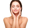 Beautiful spa woman with clean beauty skin touching