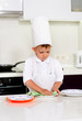 Cute young chef checking his dinner plates