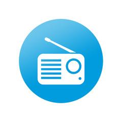 Etiqueta redonda receptor de radio