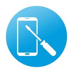 Etiqueta redonda reparacion de smartphones