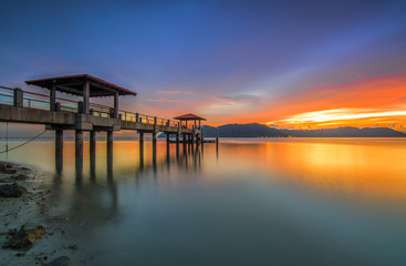 A nice and beautiful sunset on an island jetty