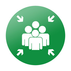 Etiqueta redonda punto de reunion