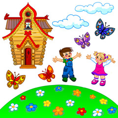 Illustration of cartoon lawn, kids, house, clouds and butterflie