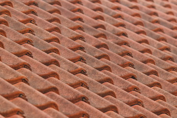 Roof with tiles for pattern