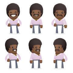 set of disco man character in different poses