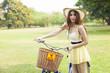 Woman bike handles