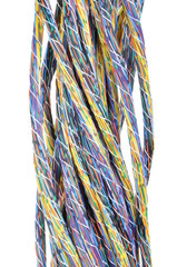 Multicolored computer cables bundles isolated on white