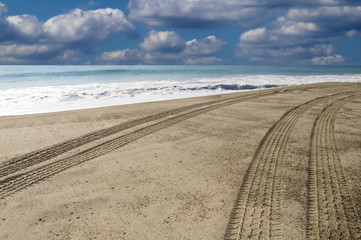 Driving down the beach