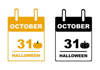 Halloween calendar isolated on white