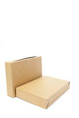 two brown boxs on white isolated background.